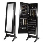 Btexpert Premium Full Size Cheval Mirror Black Wood Jewelry Armoire Cabinet Stand Box with Lock