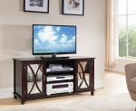 Kings Brand Furniture TV Stand Storage Console, Mirrored Doors