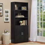 "Seraphina Standard Bookcase with 3 Open Shelves,2 Adjustable and 2 Cabinet Doors Made of Manufactured Wood with Laminate in Black Ebony Ash 70.63""H x 29.69""W x 12.38""D in."