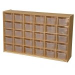Wood Designs WD16031 (30) Tray Storage with Translucent Trays, 36 x 58 x 15″ (H x W x D)