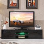 TV Stand Unit Cabinet w/LED Shelves 2 Drawers Console Furniture High Gloss Black