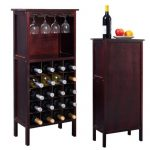 Wood Wine Cabinet Bottle Holder Storage Kitchen Home Bar w/ Glass Rack