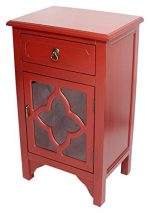Heather Ann Creations Standing Single Drawer Distressed Cabinet with Clover Glass Window Inserts, 30″ x 18″, Red