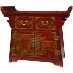 Oriental Furniture Red Lacquer Village Life Altar Cabinet