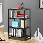 go2buy 4 Tier Metal Bookshelf/Bookcase Wood Display Stand Book Storage Shelving Unit