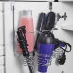 Home Basics Over the Cabinet Hairdryer Holder & Organizer in Chrome
