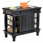 Kitchen Island With Pewter Hardware And Cabinet Doors And Open Storage Shelves And Drawer plus FREE GIFT