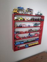 VersaRacks – Cars, Thomas the Train, Monster Trucks, Legos, Model Wall Display Case Shelf – Apple Red