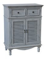 Crestview Collections Hampton 2-Door with 2-Drawer Cabinet, Antique White