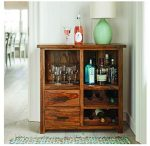 SNG Solid Wood Classic Bar Cabinet With 2 Drawer Storage in Teak Finish