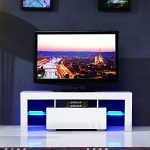 LED TV Stand Unit Cabinet w/Drawer Console Furniture High Gloss White