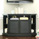 WE Furniture 52″ Wood Corner TV Stand Console, Black