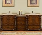 Silkroad Exclusive Countertop Travertine Stone Double Sink Bathroom Vanity with Modular Cabinet, 92-Inch