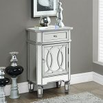Monarch Specialties I 3707 Brushed Silver Mirror Accent Table, 29″