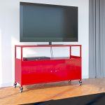 Tuscany Metal Lockable Tv Stand Cabinet Media Storage With Rolling Casters , Red