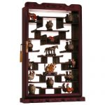 Rosewood Wall Curio Display Cabinet – Dark Cherry