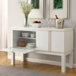 Lamia Contemporary Style White Gloss Lacquer Finish Buffet Server Cabinet