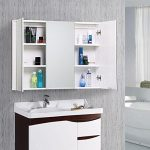 World Pride 3 Doors Mirror Bathroom Cabinet Internal Shelves Minimalist Wall Mounted ,White