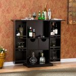 Upton Home Trinity Black Fold Away Modern Bar Cabinet