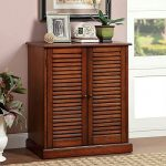 1PerfectChoice Della Solid Wood Shoe Cabinet Sofa Table Stand Hallway 5 Shelves w/ Louver Doors Oak