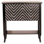Heather Ann Creations Heirloom Collection Chevron 2 Drawer Accent Storage Cabinet with Bottom Shelf, 33″ x 13″ x 32″, Black/Grey