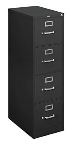Basyx H410 Series 4-Drawer Locking Vertical File, Letter Size, Black