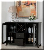 Cappuccino Multi-Storage Dining Buffet. This Combo of Cabinets, Drawers and Wine Bottle Slots Ensures You Have Enough Space In Your Dining Room Area For Your Favorite Plates Or Spirits.