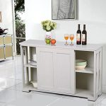Yaheetech White Sliding Door Buffet Sideboard Stackable Cabinets Kitchen Dining Room Storage Cupboard