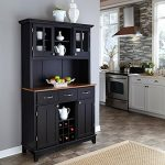 Buffet Cabinet 3-Drawer with Cottage Oak Wood Top and Hutch Solid Hardwood in Black Finish
