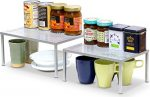 SimpleHoueware Expandable Stackable Kitchen Cabinet and Counter Shelf Organizer, Silver