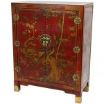 Oriental Furniture Red Lacquer Nestling Birds Cabinet