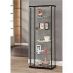 Bowery Hill 5 Shelf Contemporary Curio Cabinet in Black