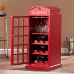 Harper Blvd Nigel Phone Booth Wine Cabinet, Features three (3) wine storage shelves and three (3) glassware racks