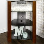 WE Furniture 35″ Glass Media Storage Tower, Cherry