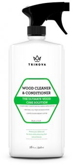 Wood Cleaner, Conditioner & Polish – For Hardwood Floors, Furniture & Cabinets – Removes Stains & Restores Shine – Wax & Oil Polisher – Works on Stained & Unfinished Surfaces – 18 OZ – TriNova