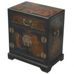 EXP Handmade Oriental Furniture Antique Style End/Accent Table, 20-Inch, Tang Dynasty, Black