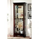 Furniture of America Phillip 5 Shelf Curio Cabinet in Dark Walnut