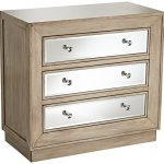 Gabriella 32″ Wide Mirrored Oak Veneer 3-Drawer Accent Chest