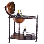NEW Wood Globe Wine Bar Stand 34″ H 16th Century Italian Rack Liquor Bottle Shelf
