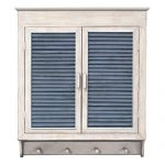 MCS Industries Louvered Wall Cabinet, Whitewashed With Indigo Panels