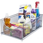 Sorbus Cabinet Organizer Drawer- Mesh Storage Organizer with Pull Out Drawers-Ideal for Countertop, Cabinet, Pantry, Under the Sink, Desktop and More (Silver Top Drawer)
