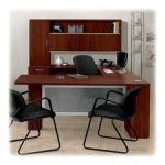 Hon Left Single Frosted Doors Pedestal Desk, 72 by 36 by 29-1/2-Inch, Mahogany