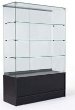 48″ Glass Display Cabinet with 3 Glass Shelves, Separate Storage Area in Base, Sliding Doors (Black)