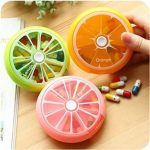 IFY Cute Fruit Style ,Portable Rotating 7 Day Weekly Pill Medicine Tablet Holder Storage Case Box Dispenser, Pack of 3 (Orange/Lemon/Pomelo)