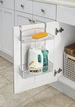 mDesign Over the Cabinet Kitchen Storage Organizer Basket for Aluminum Foil, Sponges, Cleaning Supplies – 2-Tier, Chrome