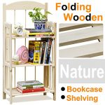 Go2buy 3 Shelf Natural Pine Wood Folding Bookshelf No Assembly Required Bookcase Storage Shelves Units