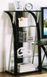 Media Tower with Tempered Glass in Black Finish