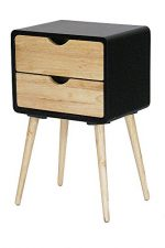 Heather Ann Creations Euro Collection Modern 2 Drawer Accent Storage Cabinet, 25.6″ Tall, Black