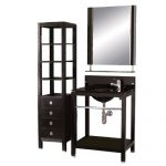 Decolav 5250T-BK Stained Wood Lavatory Console with Tempered Glass Back-Finished Countertop, Black