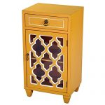 Heather Ann Creations Single Drawer Distressed Decorative Accent Storage Cabinet with Multi Clover Glass Window Inserts, 30″ x 18″, Orange